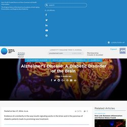 Alzheimer's Disease: A Diabetic Disorder of the Brain