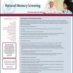 Alzheimer's Foundation of America - National Memory Screening