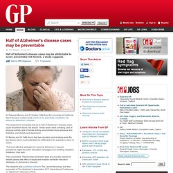 Half of Alzheimer's disease cases may be preventable