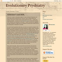 Evolutionary Psychiatry: Alzheimer's and HDL