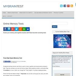 Free Online Memory, Alzheimers, Dementia Test