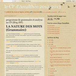 le CP d'Amalthée 2012-2013: programme de grammaire et analyse au CP (Blog JPP)
