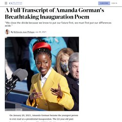 "Amanda Gorman's Inauguration Poem Transcript, ""The Hill We Climb"""