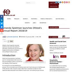 Amanda Spielman launches Ofsted's Annual Report 2018/19