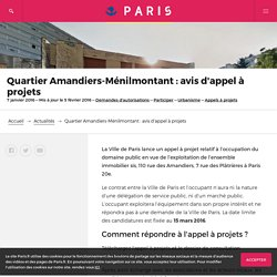 Quartier Amandiers-Ménilmontant : avis d'appel à projets