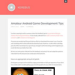 Amateur Android Game Development Tips