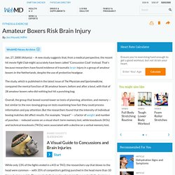 Amateur Boxers Risk Brain Injury