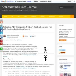 Reflection API Changes in .NET 4.5 Applications and Fun with Custom Reflection Context