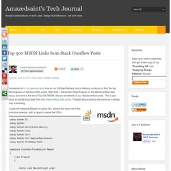 s Tech Journal: Top 500 MSDN Links from Stack Overflow Posts