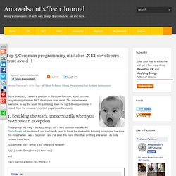 Top 5 Common programming mistakes .NET developers must avoid !!