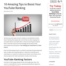 10 Amazing Tips To Boost Your YouTube Ranking