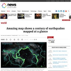 Amazing map shows a century of earthquakes mapped at a glance | News.com.au