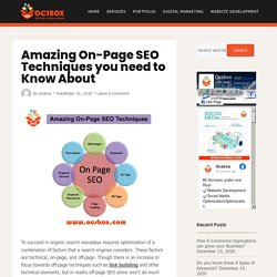 Amazing On-Page SEO Techniques you need to Know About