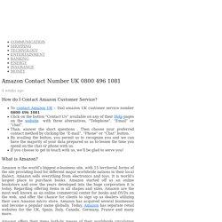 Amazon Customer Service Contact Number UK