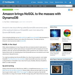 Amazon brings NoSQL to the masses with DynamoDB