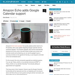 Amazon Echo adds Google Calendar support