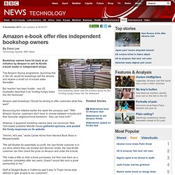 Amazon e-book offer riles independent bookshop owners