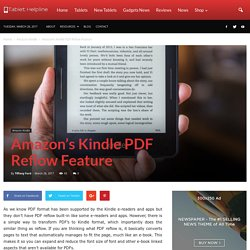 Amazon's Kindle PDF Reflow Feature
