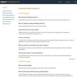 Amazon Marketing Services - FAQ