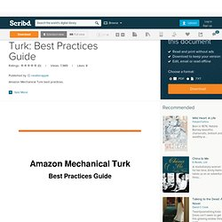 Amazon Mechanical Turk: Best Practices Guide