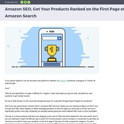 Amazon SEO, Get Your Products Ranked on the First Page of Amazon Search