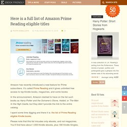 Here is a full list of Amazon Prime Reading eligible titles