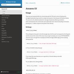 Amazon S3 — django-storages 1.1.8 documentation