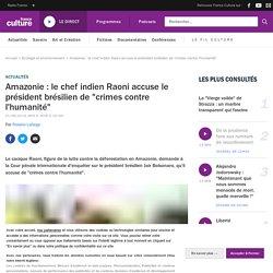 """Amazonie : le chef indien Raoni accuse le président brésilien de """"crimes contre l'humanité"""""""