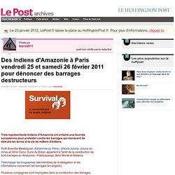 Des Indiens d'Amazonie à Paris vendredi 25 et samedi 26 février 2011 pour dénoncer des barrages destructeurs - Actif et militant sur LePost.fr