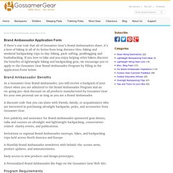 Brand Ambassador Application Form - Gossamer Gear