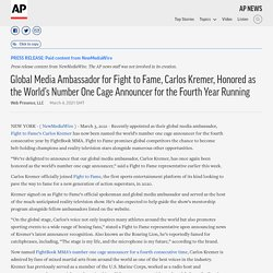 Global Media Ambassador for Fight to Fame, Carlos Kremer, Honored as the World's Number One Cage Announcer for the Fourth Year Running