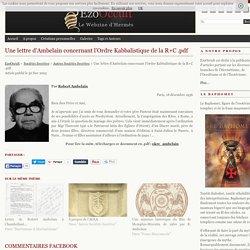 Une lettre d'Ambelain concernant l'Ordre Kabbalistique de la R+C .pdf « Autres Sociétés Secrètes « Sociétés Secrètes