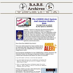 The AMBER Alert System And Amateur Radio's Role