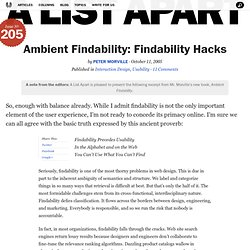 Ambient Findability: Findability Hacks