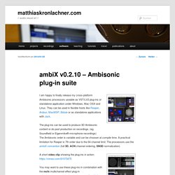 ambiX v0.2.2 – Ambisonic plug-in suite