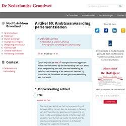 Nederlandse Grondwet - Artikel 60: Ambtsaanvaarding parlementsleden