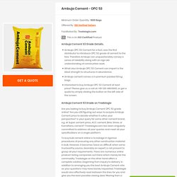 Buy Bulk Ambuja Cement Online – OPC 53 Grade and Save Upto 10%