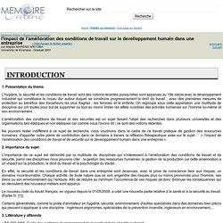 l'impact de l'amélioration des conditions de travail sur le develloppement humain dans une entreprise - Mapaix MAPENZI M'KYOBA