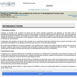 l'impact de l'amélioration des conditions de travail sur le develloppement humain dans une entreprise - Mapaix MAPENZI MâKYOBA