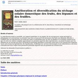 Fao - Sechage solaire domestique des fruits, des legumes et des feuilles