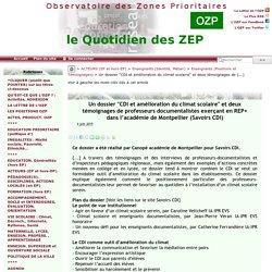 """Un dossier """"CDI et amélioration du climat scolaire"""" et deux témoignages de(...) - - OZP - Observatoire des Zones Prioritaires"""