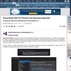 Visual Studio 2019 16.1 Preview 2 est désormais disponible et apporte de nombreuses améliorations pour les développeurs C++