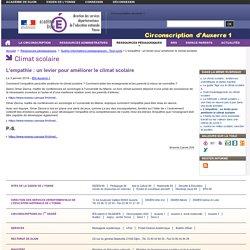 L'empathie : un levier pour améliorer le climat scolaire - Circonscription Auxerre 1