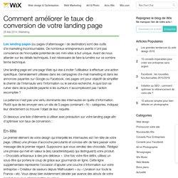 Améliorer la conversion de sa landing page- Wix.com