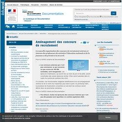 Aménagement des concours de recrutement — Documentation (CDI)