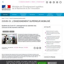 Epidémie de Covid-19 : aménagement du calendrier des concours et des examens nationaux - Ministère de l'Enseignement supérieur, de la Recherche et de l'Innovation