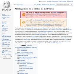 Aménagement de la France au XVIIIesiècle