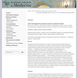 10-01 Aménagement du temps scolaire et santé de l'enfant