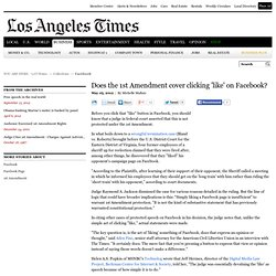 Does the 1st Amendment cover clicking 'like' on Facebook?