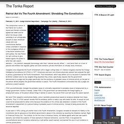 Patriot Act Vs The Fourth Amendment: Shredding The Constitution